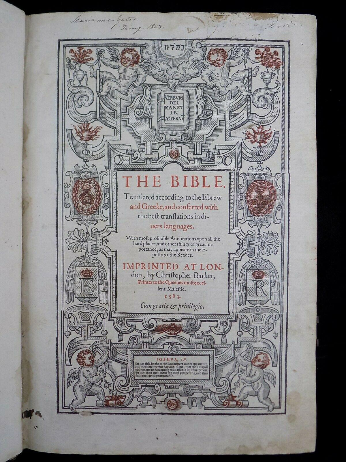 1583 GENEVA BIBLE GENERAL TITLE LEAF 316 ANTIQUE BIBLES
