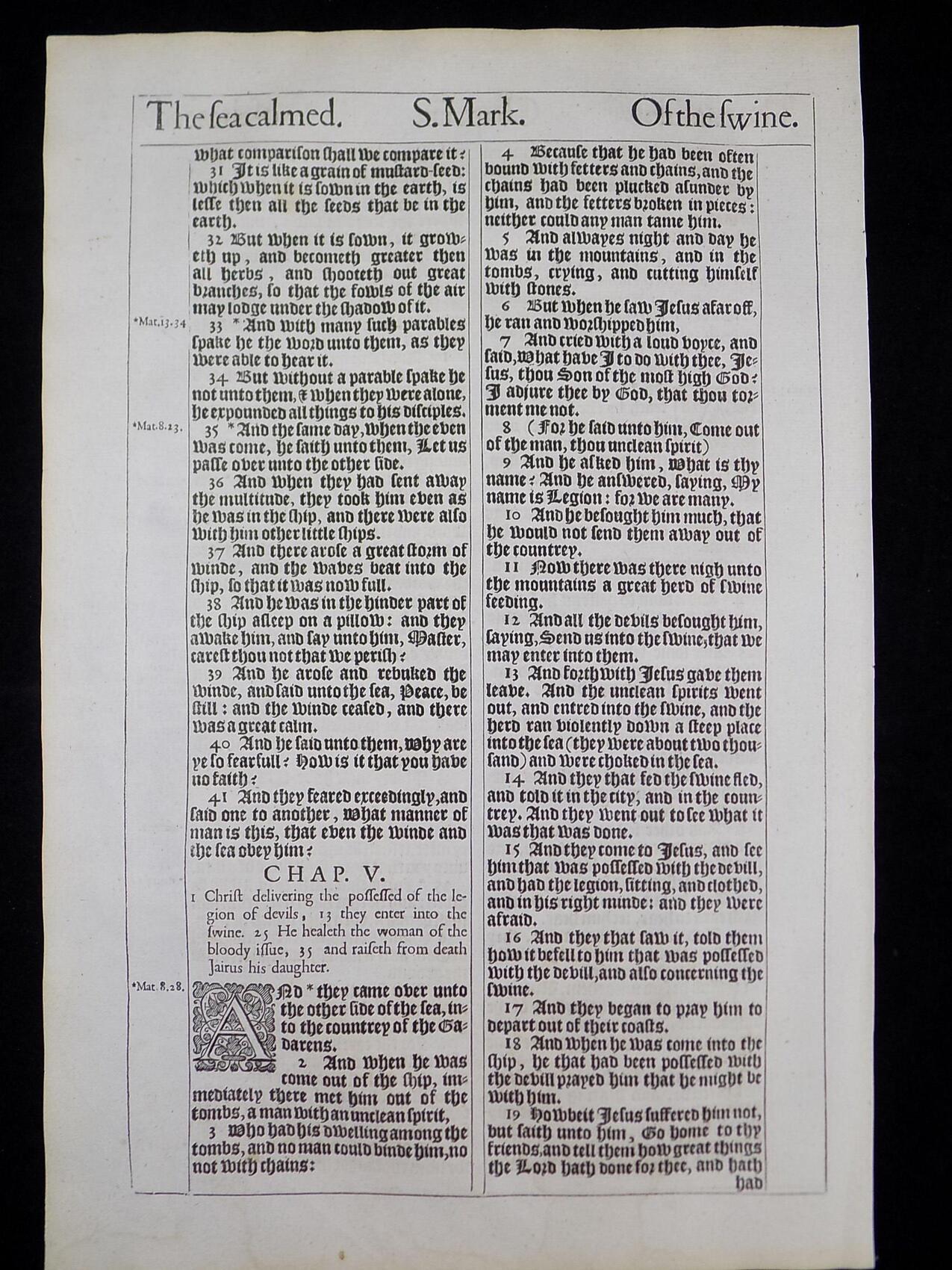 1611 KING JAMES BIBLE BOOK OF MARK ANTIQUE BIBLE