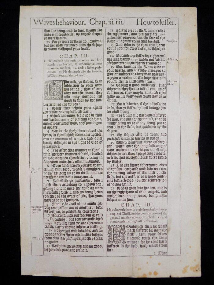 1611 KING JAMES BIBLE LEAF 1st PETER 316 ANTIQUE BIBLES