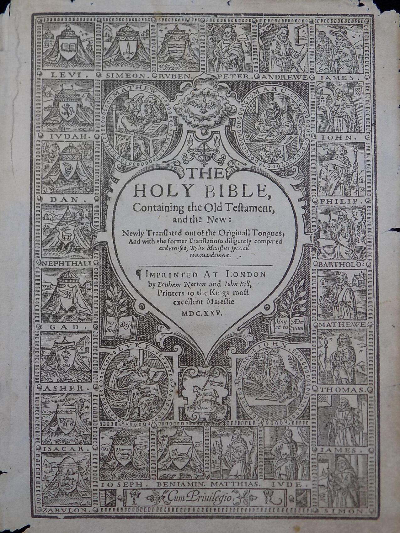 1625 KING JAMES BIBLE LEAF 316 ANTIQUE BIBLES