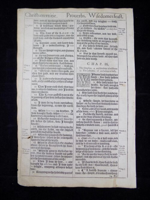 1611 KING JAMES BIBLE LEAVES BOOK OF PROVERBS 316 ANTIQUE BIBLES