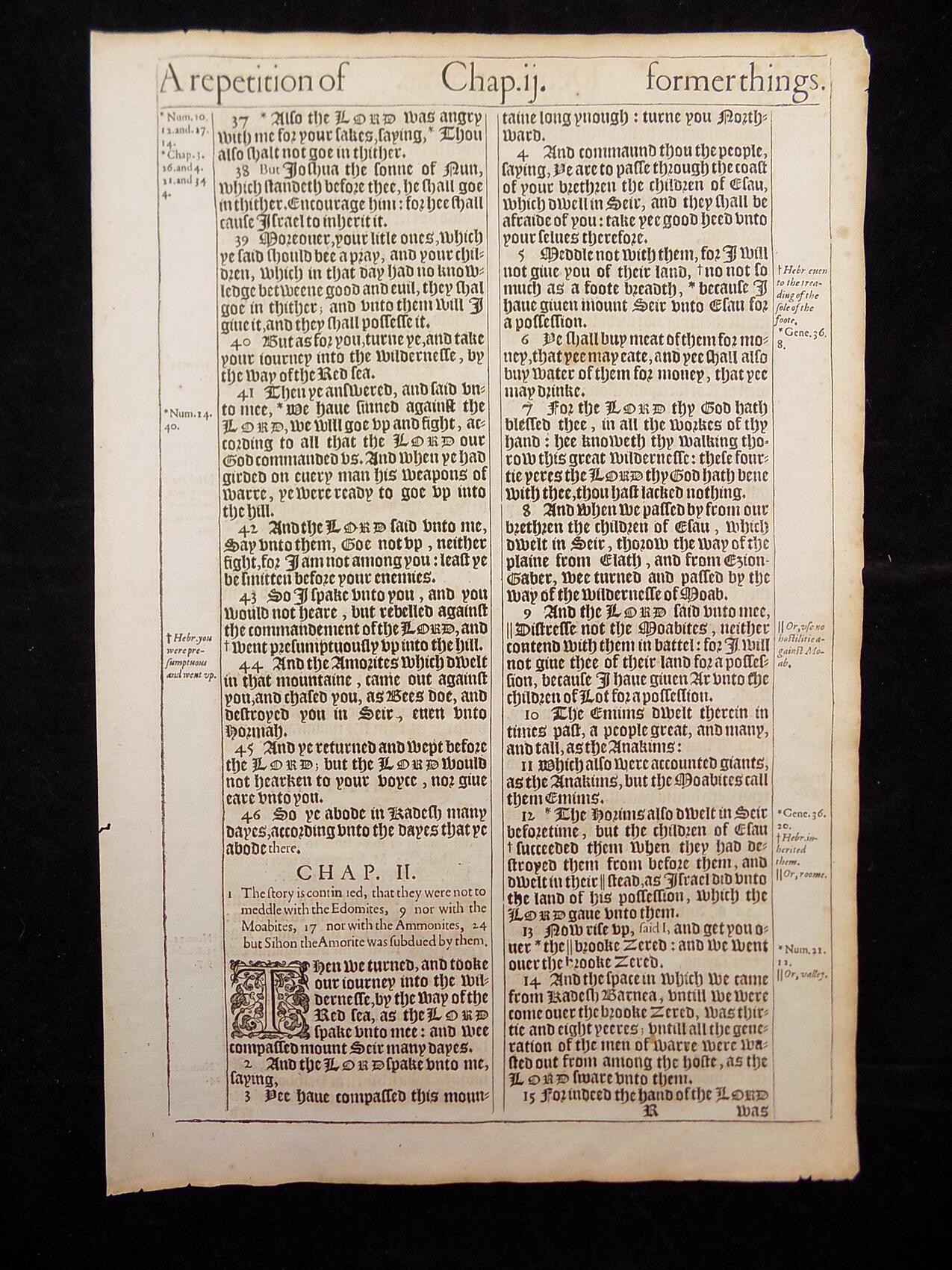 1611 KING JAMES BIBLE LEAVES BOOK OF DEUTERONOMY 316 ANTIQUE BIBLES