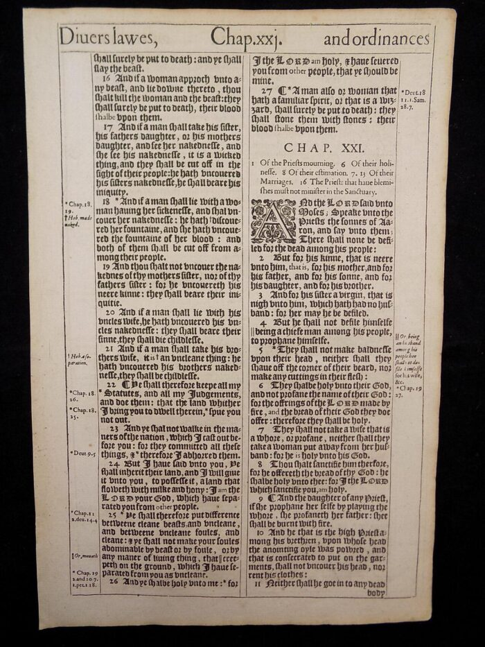 1611 KING JAMES BIBLE BOOK OF LEVITICUS 316 ANTIQUE BIBLES