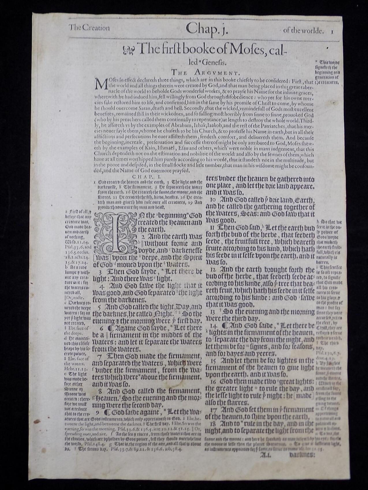 1583 GENEVA BIBLE BOOK OF GENESIS
