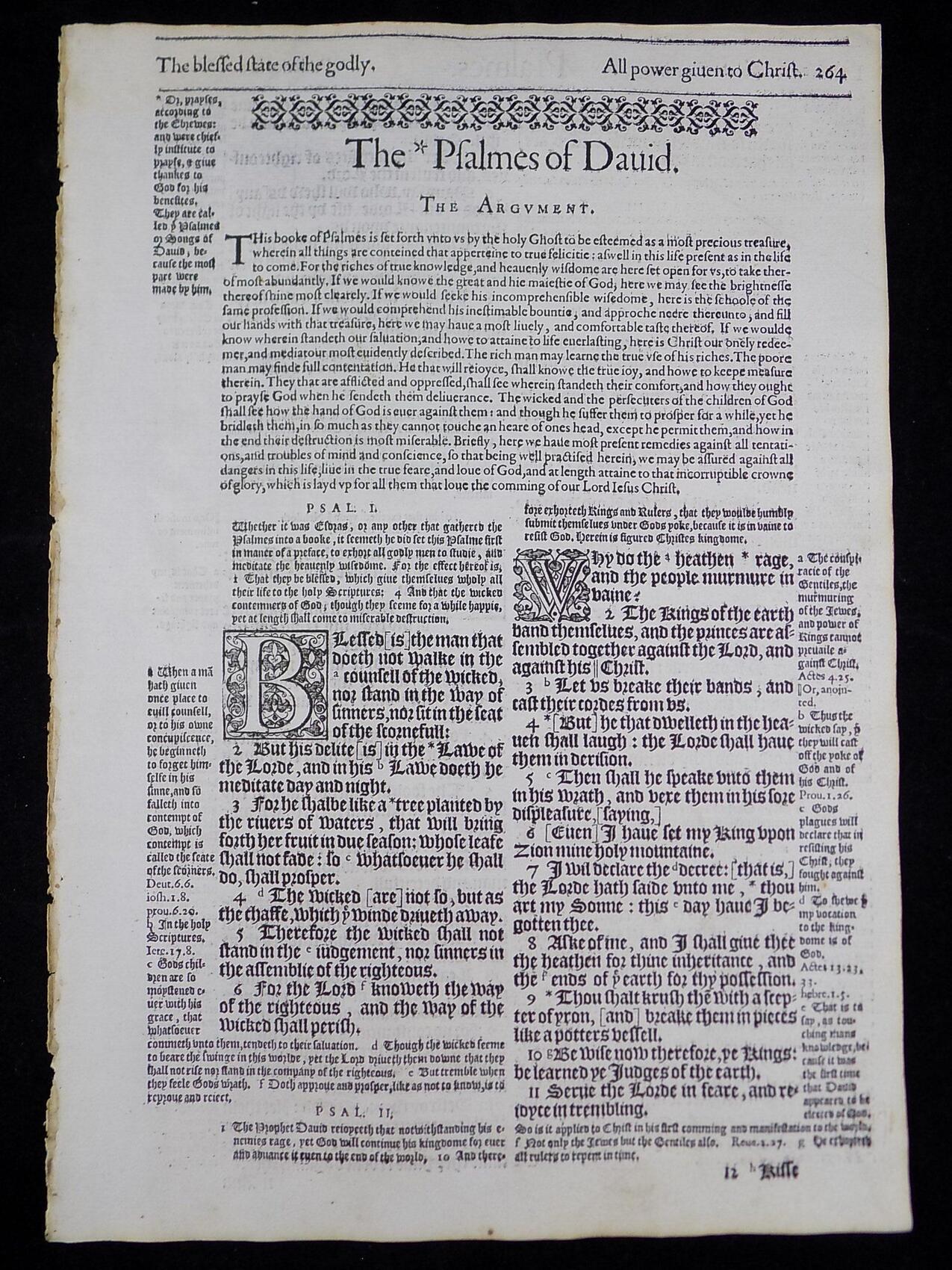 1583 GENEVA BIBLE LEAF BOOK OF PSALMS