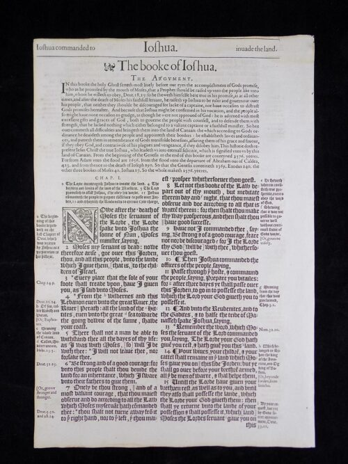 1583 NOBLEST GENEVA BIBLE LEAVES BOOK OF JOSHUA