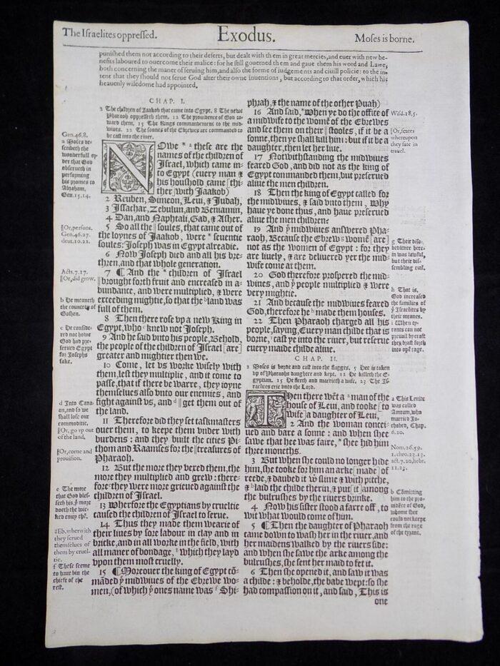 1583 NOBLEST gENEVA Book of Exodus leaf