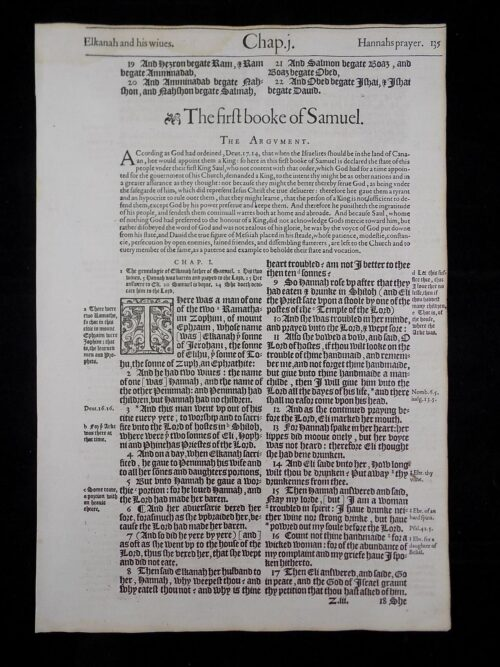 1583 NOBLEST GENEVA BIBLE LEAVES BOOK OF FIRST SAMUEL