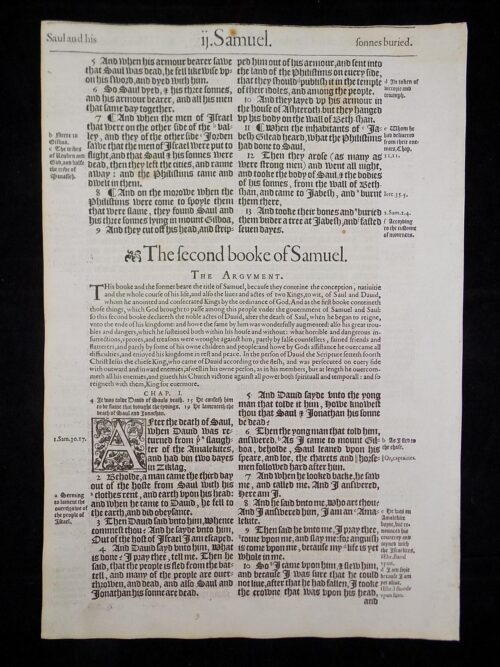 1583 NOBLEST GENEVA BIBLE LEAVES BOOK OF SECOND SAMUEL