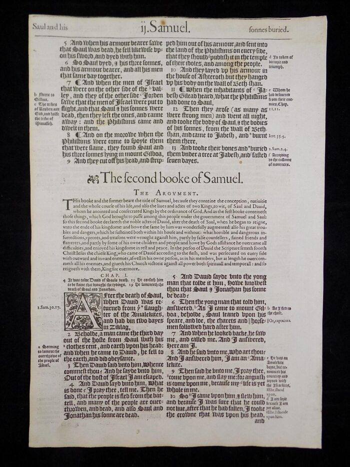 1583 NOBLEST GENEVA BIBLE LEAVES BOOK OF SECOND SAMUEL