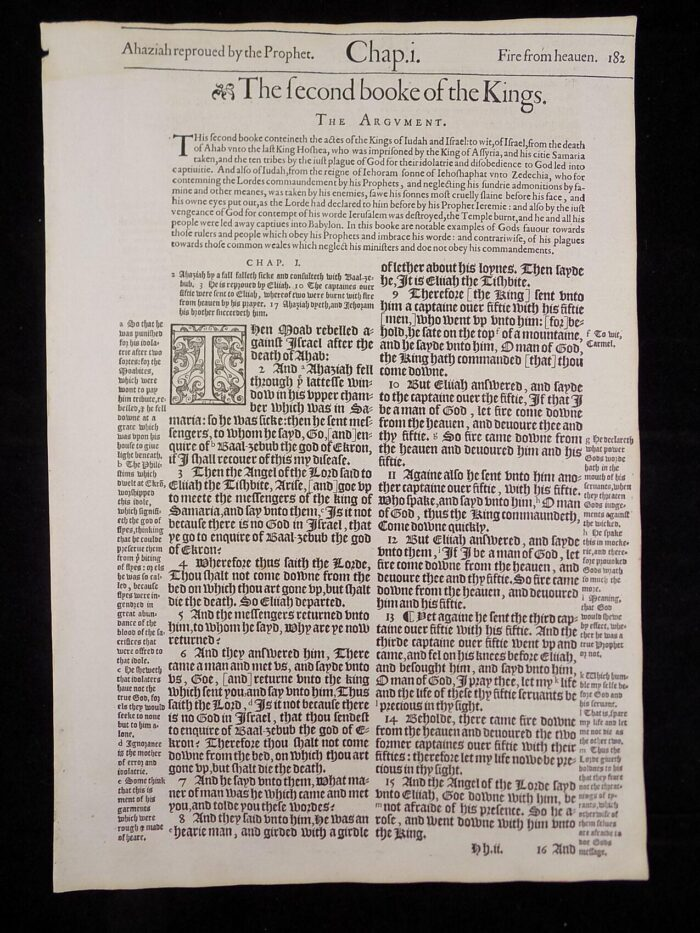 1583 NOBLEST GENEVA BIBLE LEAVES BOOK OF SECOND KINGS