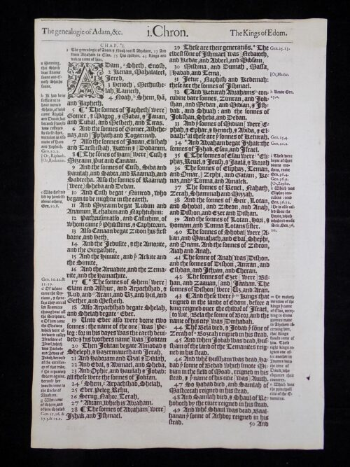 1583 NOBLEST GENEVA BIBLE LEAVES BOOK OF FIRST CHRONICLES