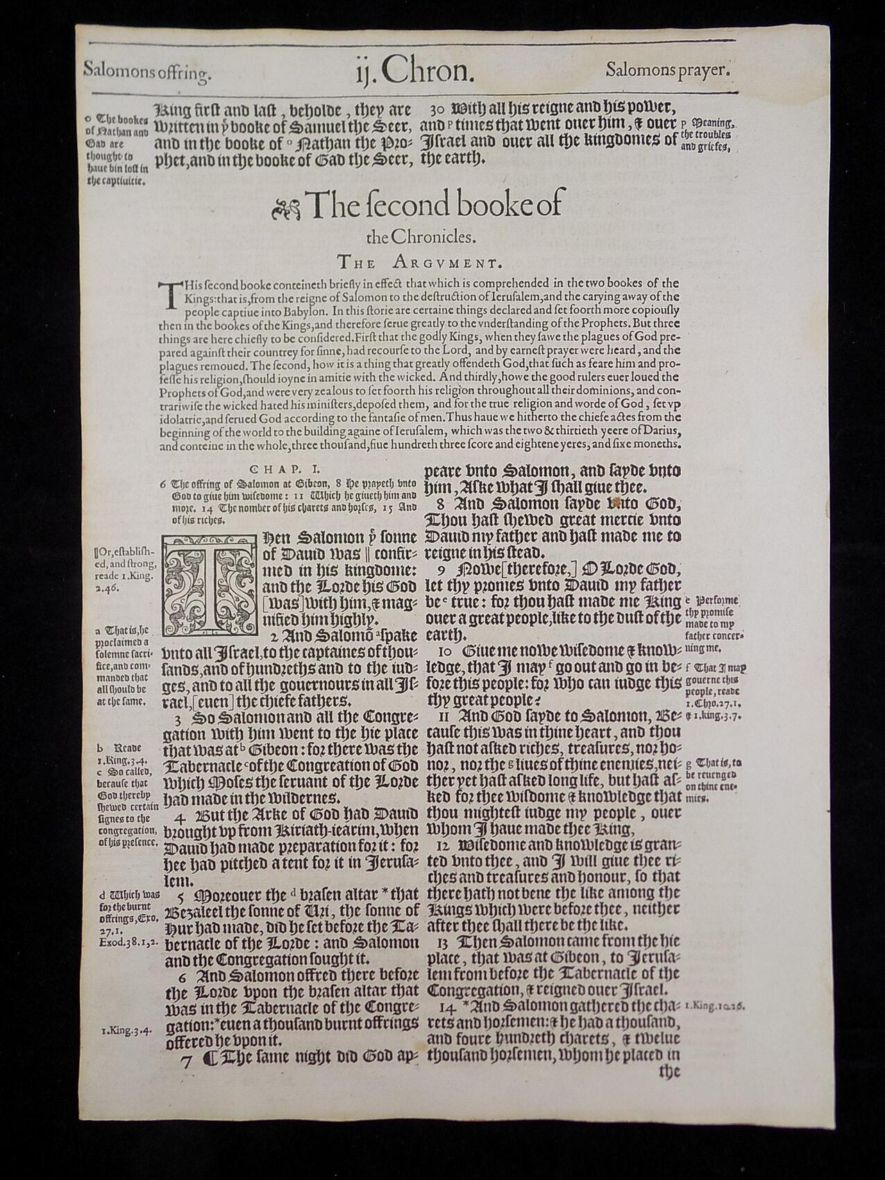 1583 NOBLEST GENEVA BIBLE LEAVES BOOK OF SECOND