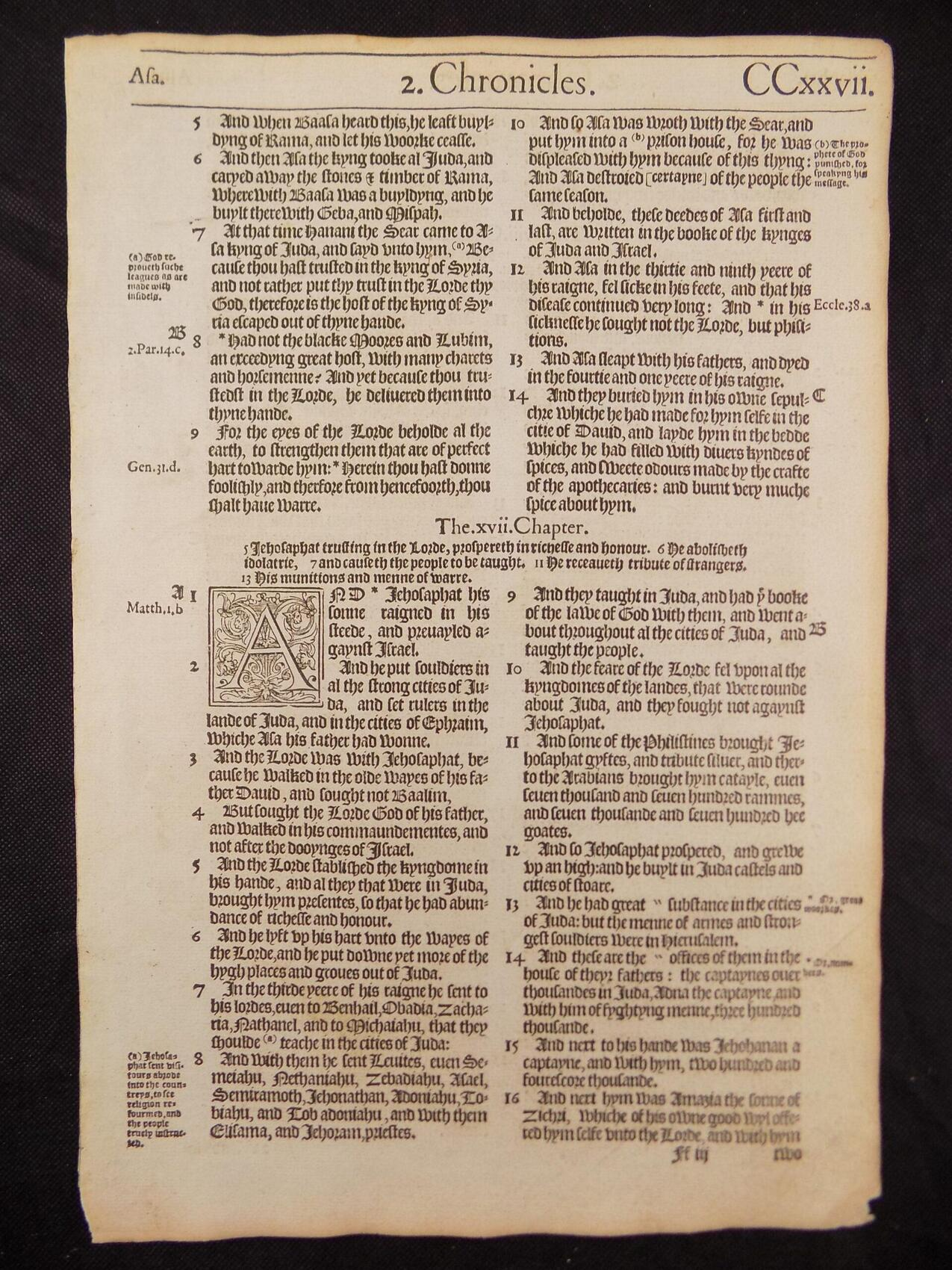 1572 BISHOPS BIBLE LEAVES BOOK OF SECOND CHRONICLES
