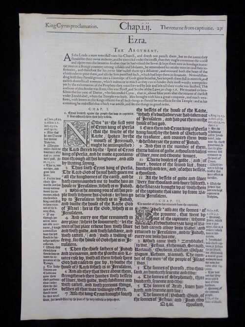 1583 NOBLEST GENEVA BIBLE LEAVES BOOK OF EZRA