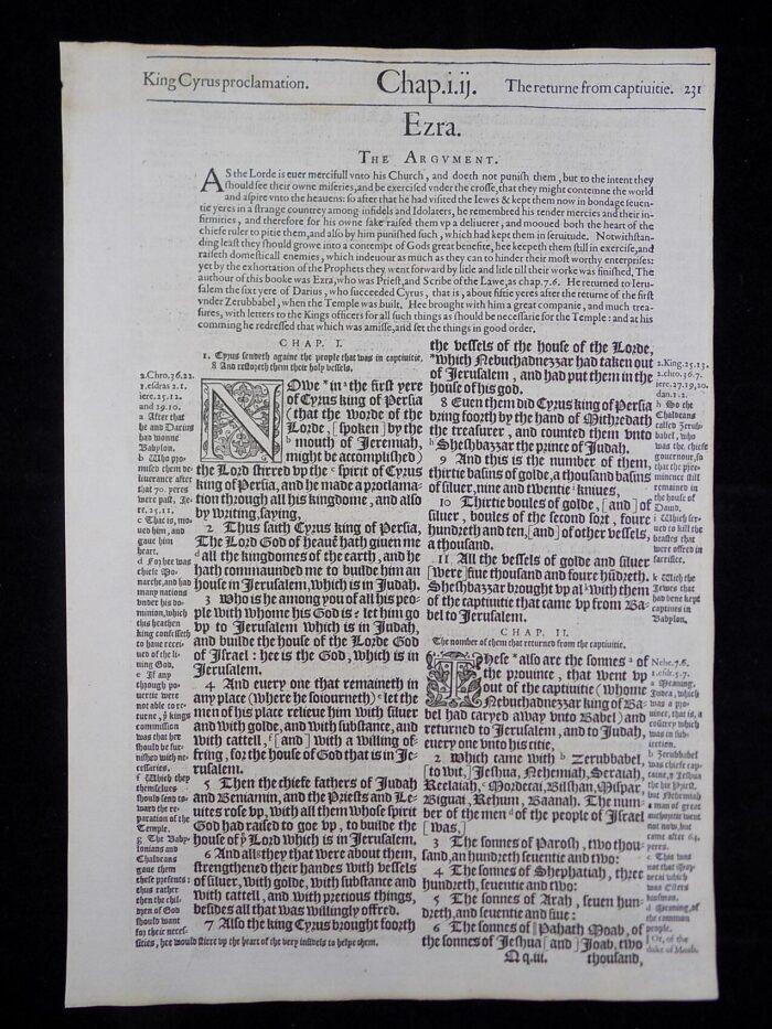 1583 NOBLEST GENEVA BIBLE LEAVES BOOK OF EZRA