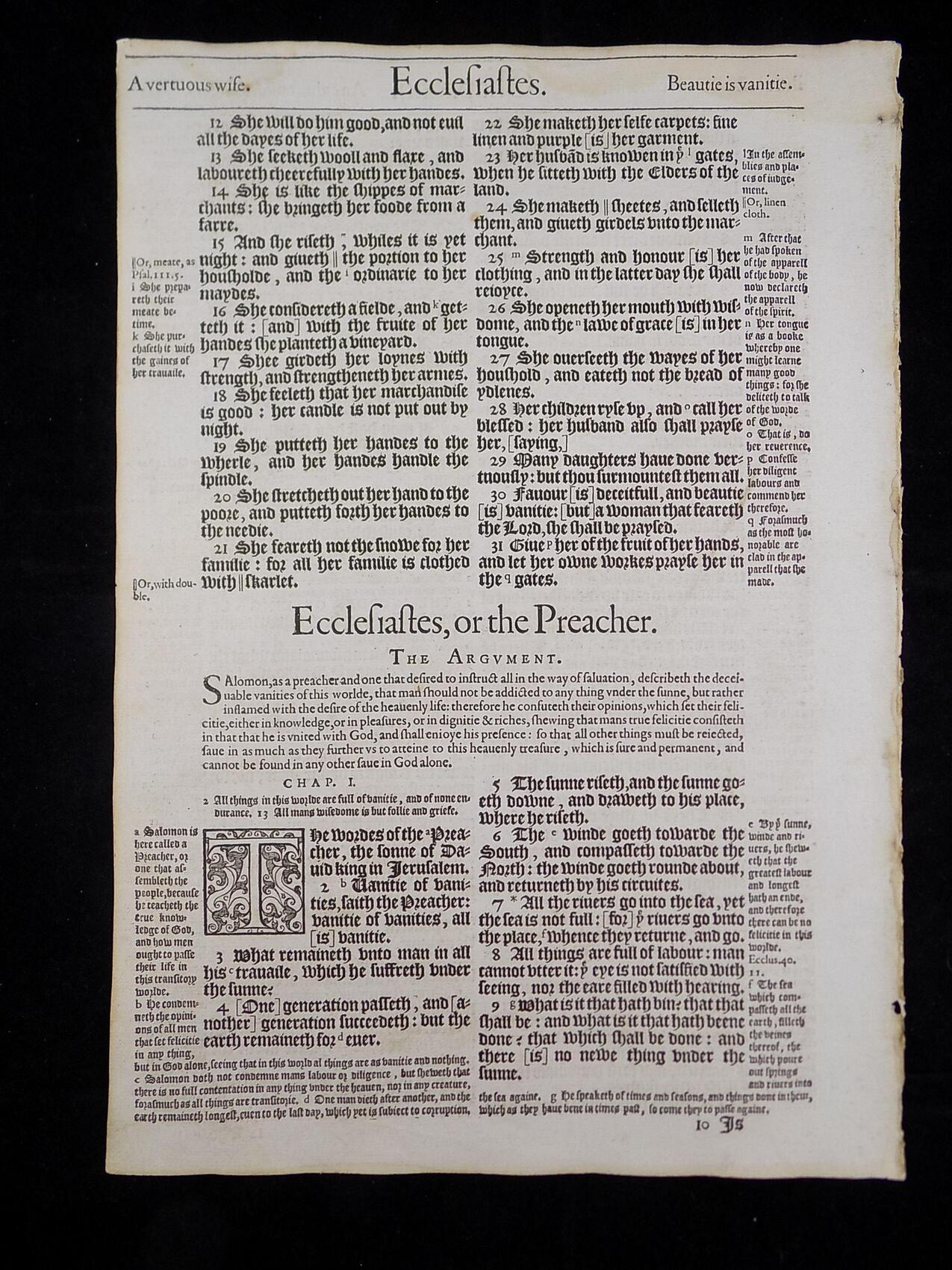 1583 NOBLEST GENEVA BIBLE LEAVES BOOK OF ECCLESIASTES