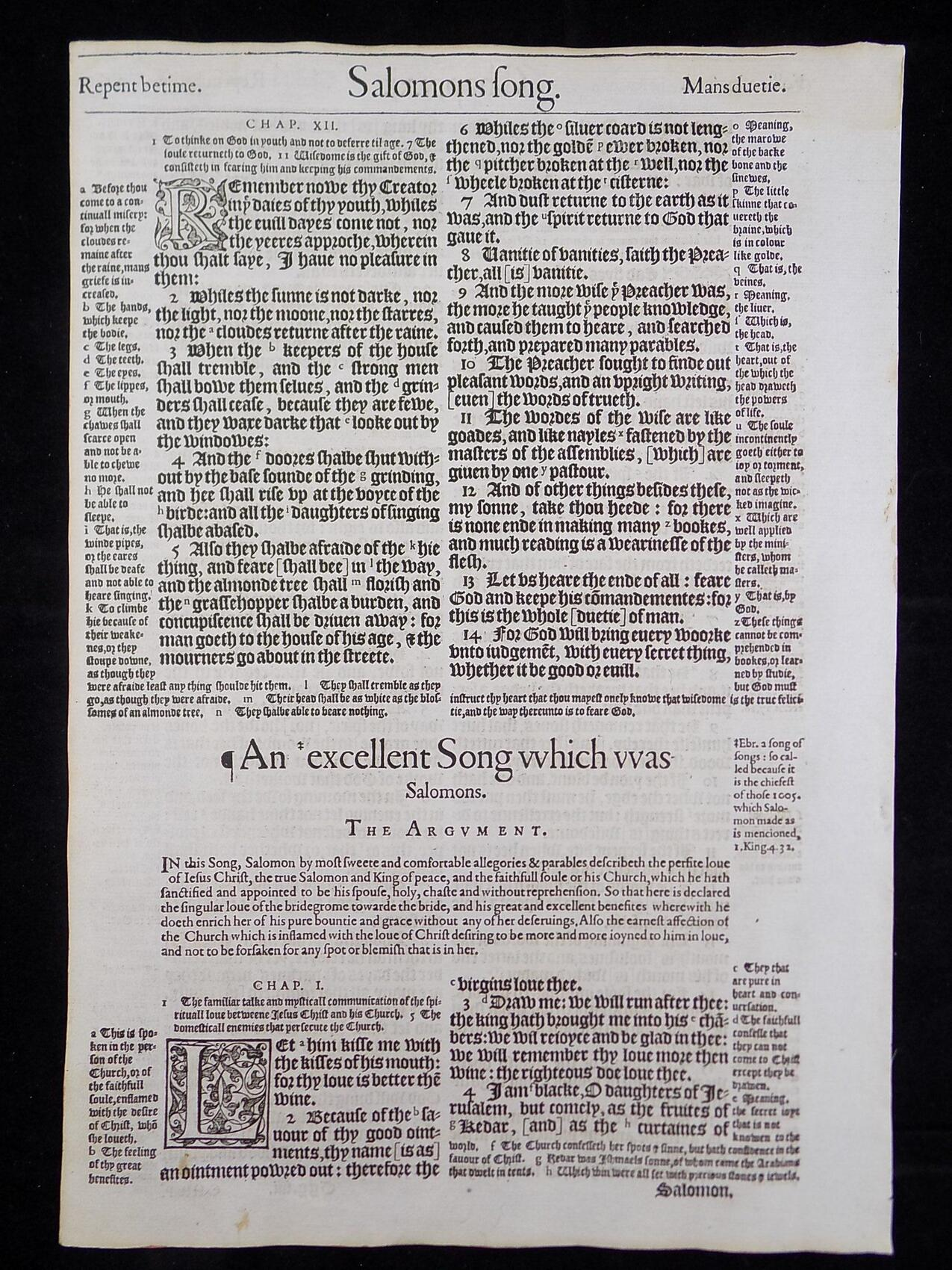 1583 NOBLEST GENEVA BIBLE LEAVES BOOK OF THE SONG OF SOLOMON