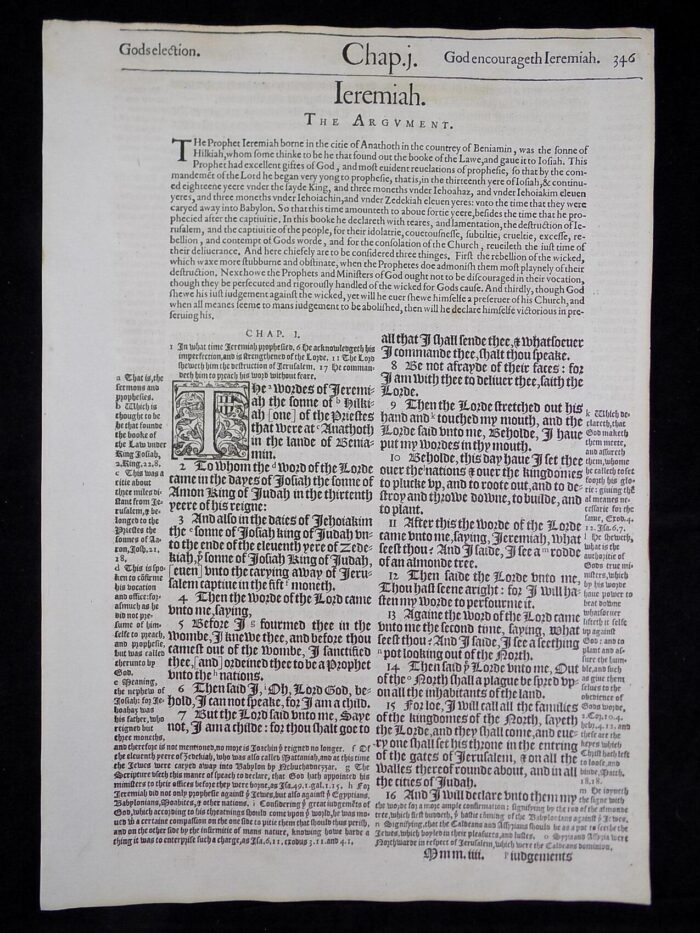 1583 NOBLEST GENEVA BIBLE LEAVES BOOK OF JEREMIAH