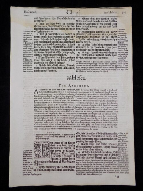 1583 NOBLEST GENEVA BIBLE LEAVES BOOK OF HOSEA