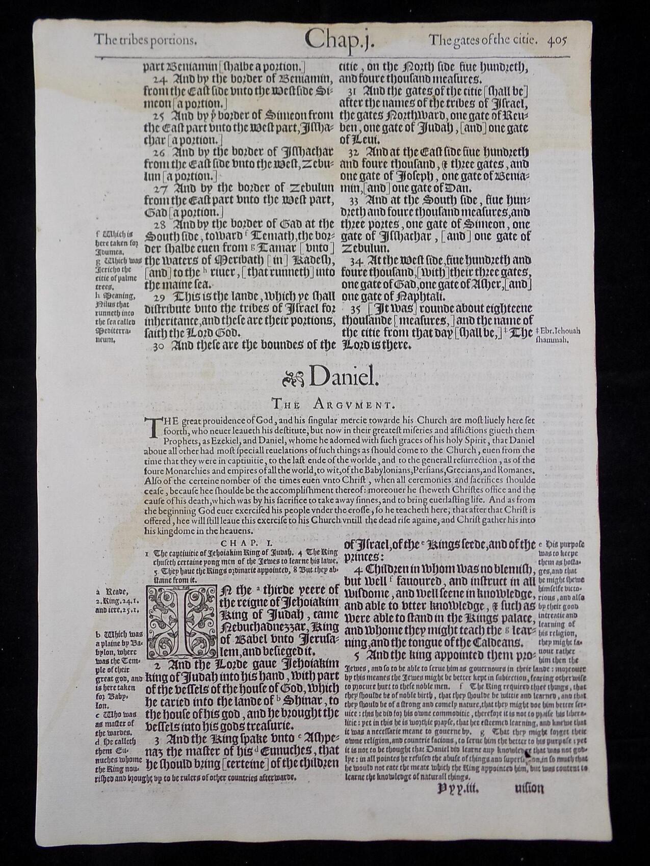 1583 NOBLEST GENEVA BIBLE LEAVES BOOK OF DANIEL