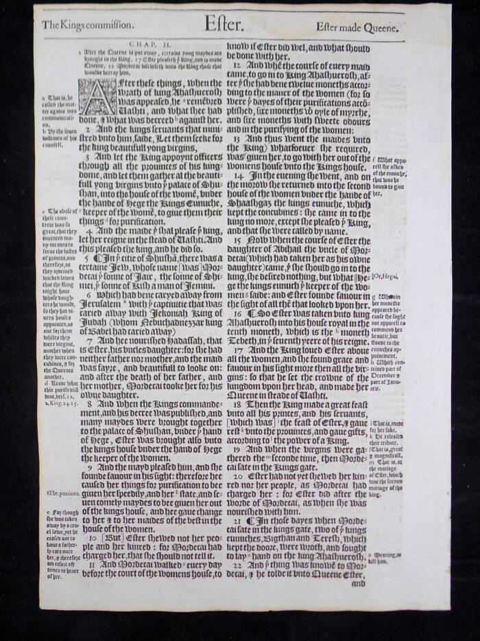 1583 NOBLEST GENEVA BIBLE LEAVES BOOK OF ESTHER