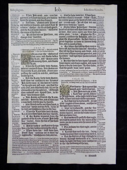1583 NOBLEST GENEVA BIBLE LEAVES BOOK OF JOB
