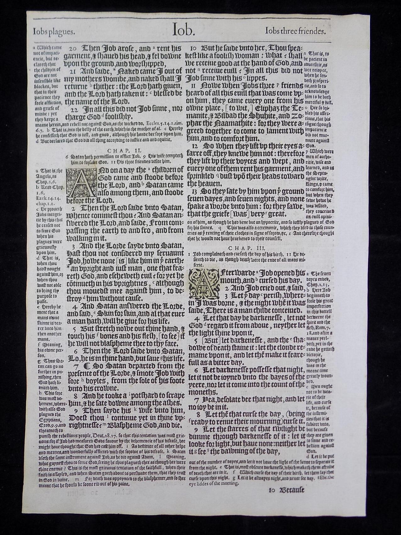 1583 NOBLEST GENEVA BIBLE LEAVES BOOK OF JOB