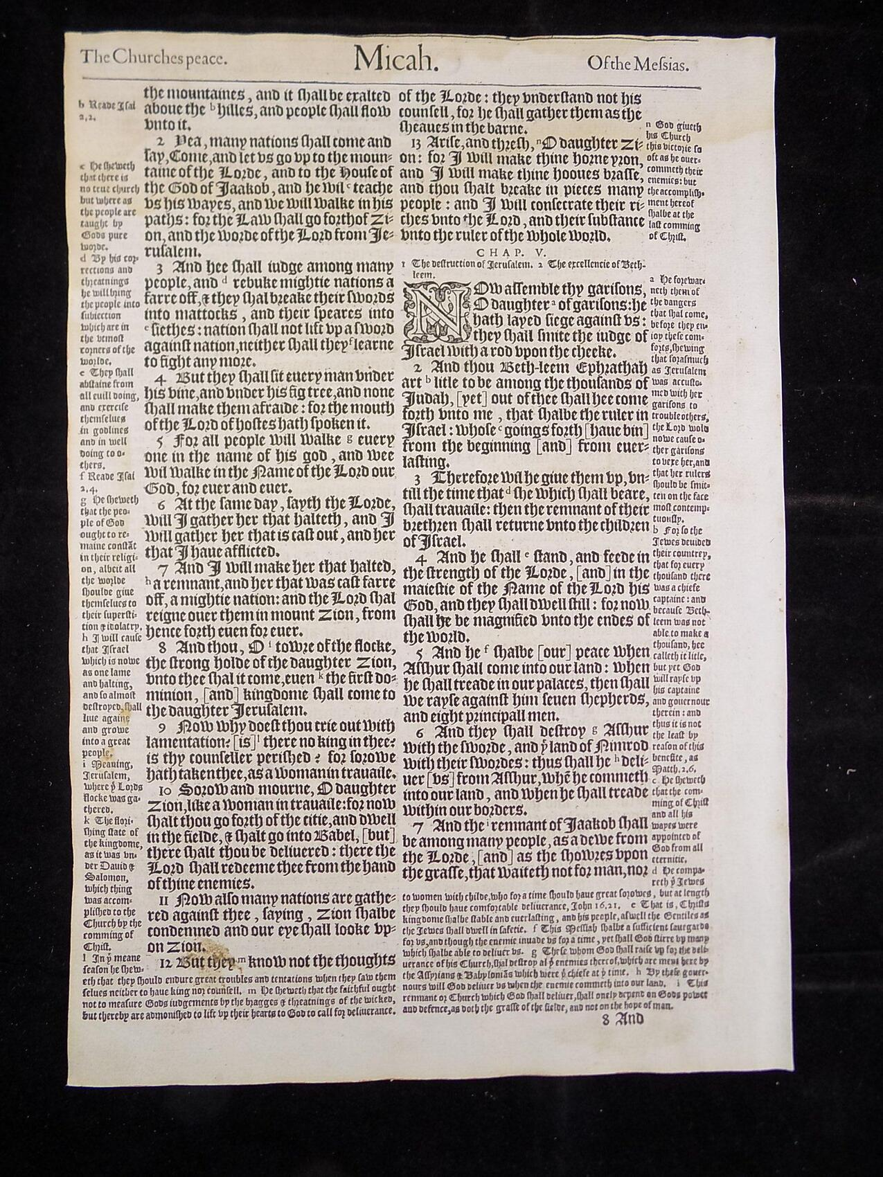 1583 NOBLEST GENEVA BIBLE LEAVES BOOK OF MICAH