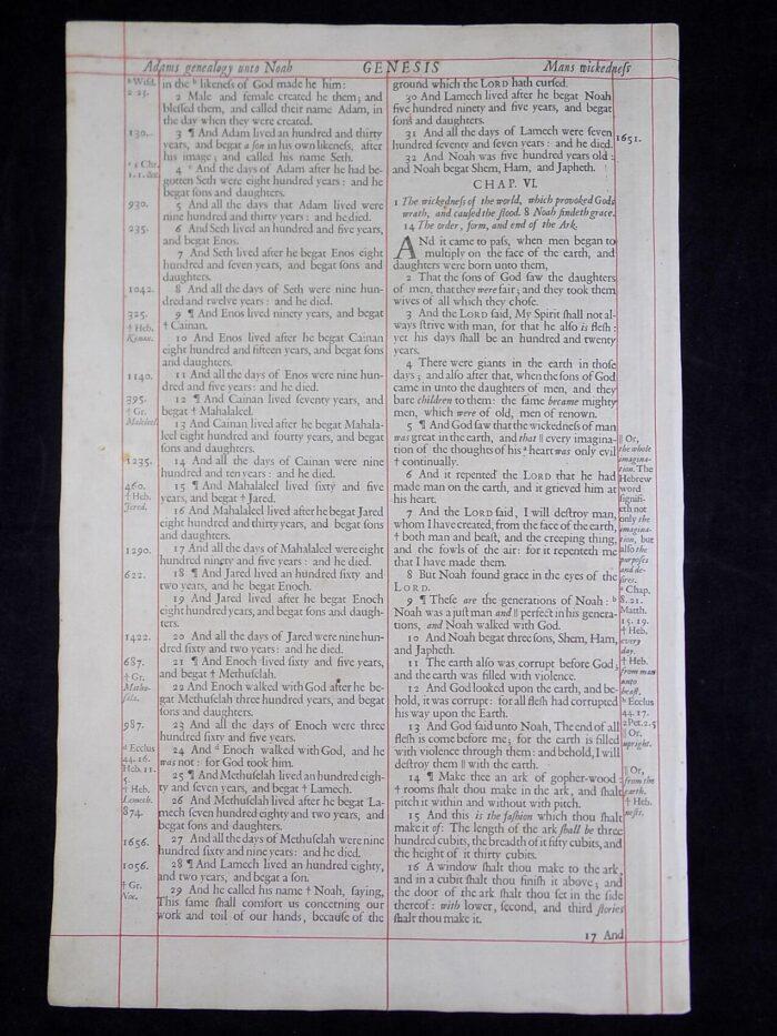 1680 OXFORD KJV GENESIS LEAVES