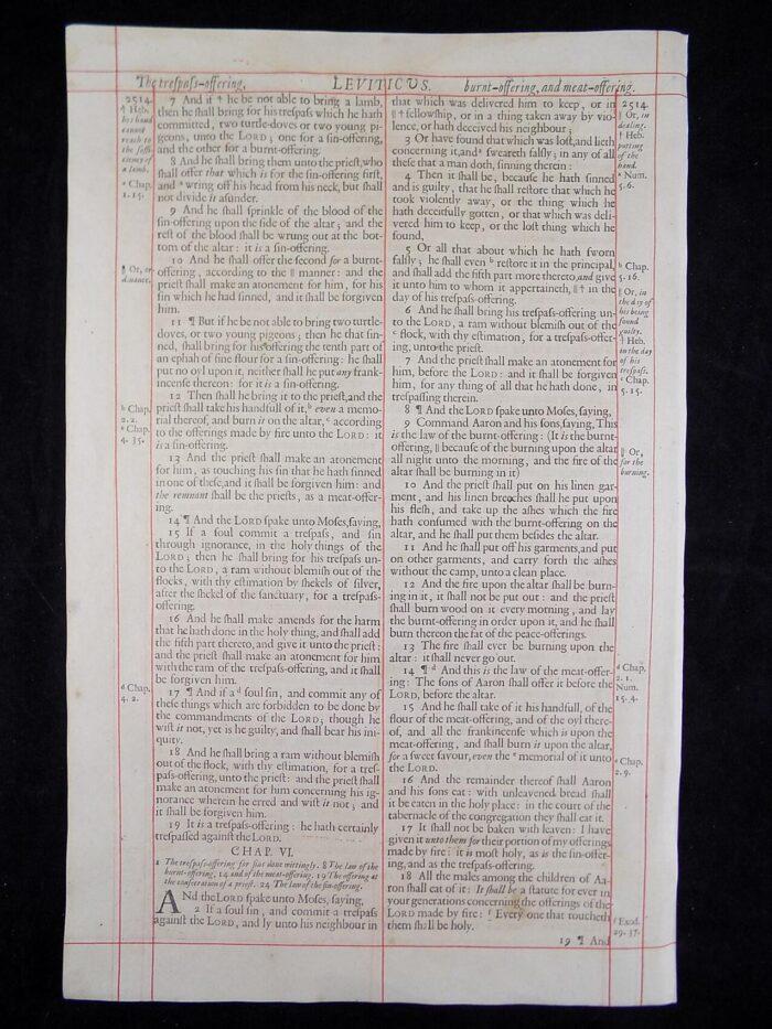 1680 OXFORD KJV LEVITICUS LEAVES