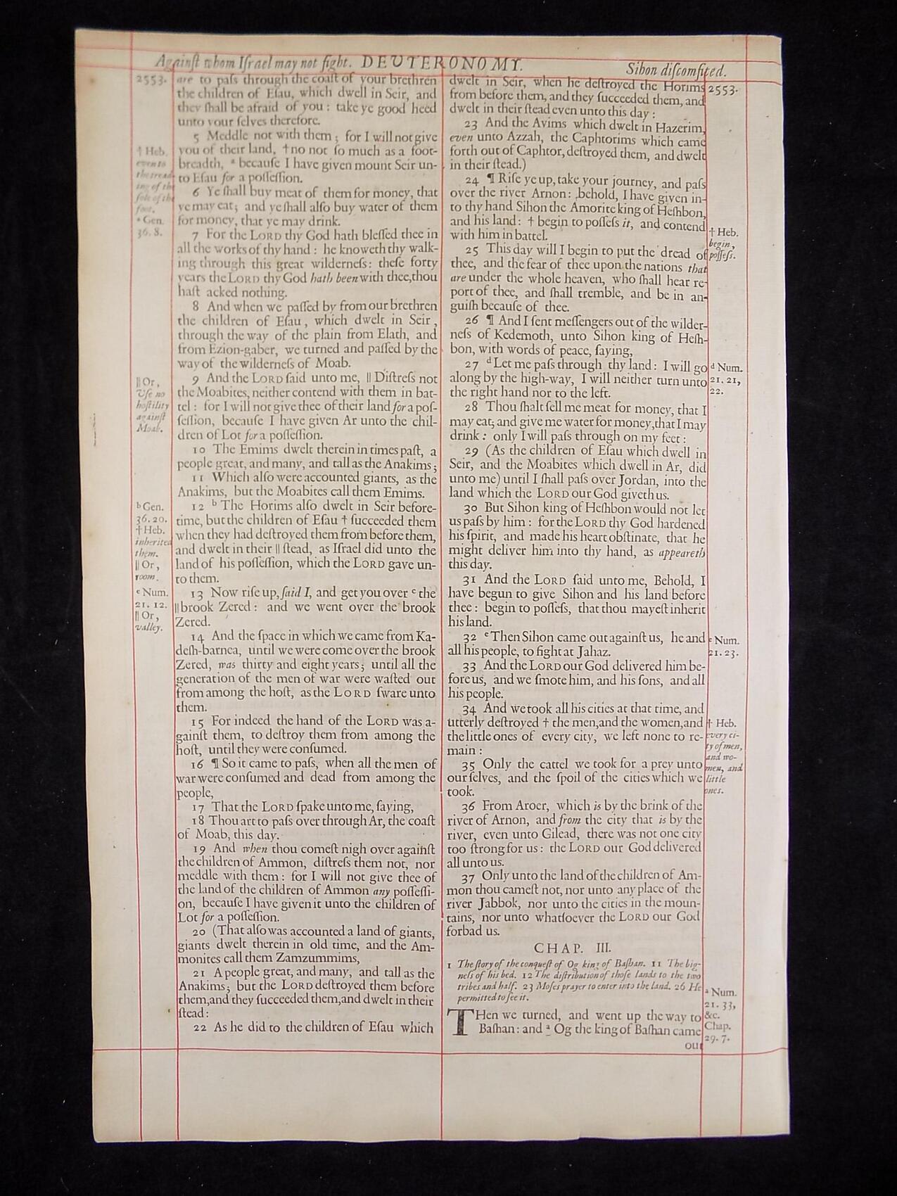 1680 OXFORD KJV DEUTERONOMY LEAVES