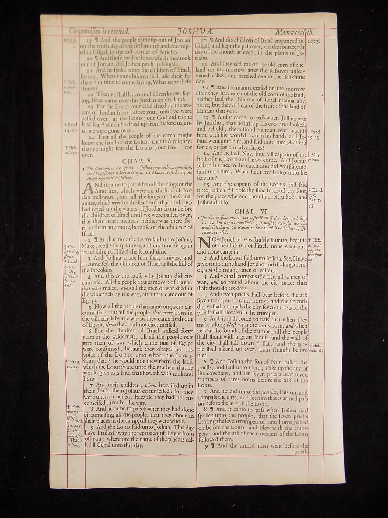 1680 OXFORD KJV JOSHUA LEAVES