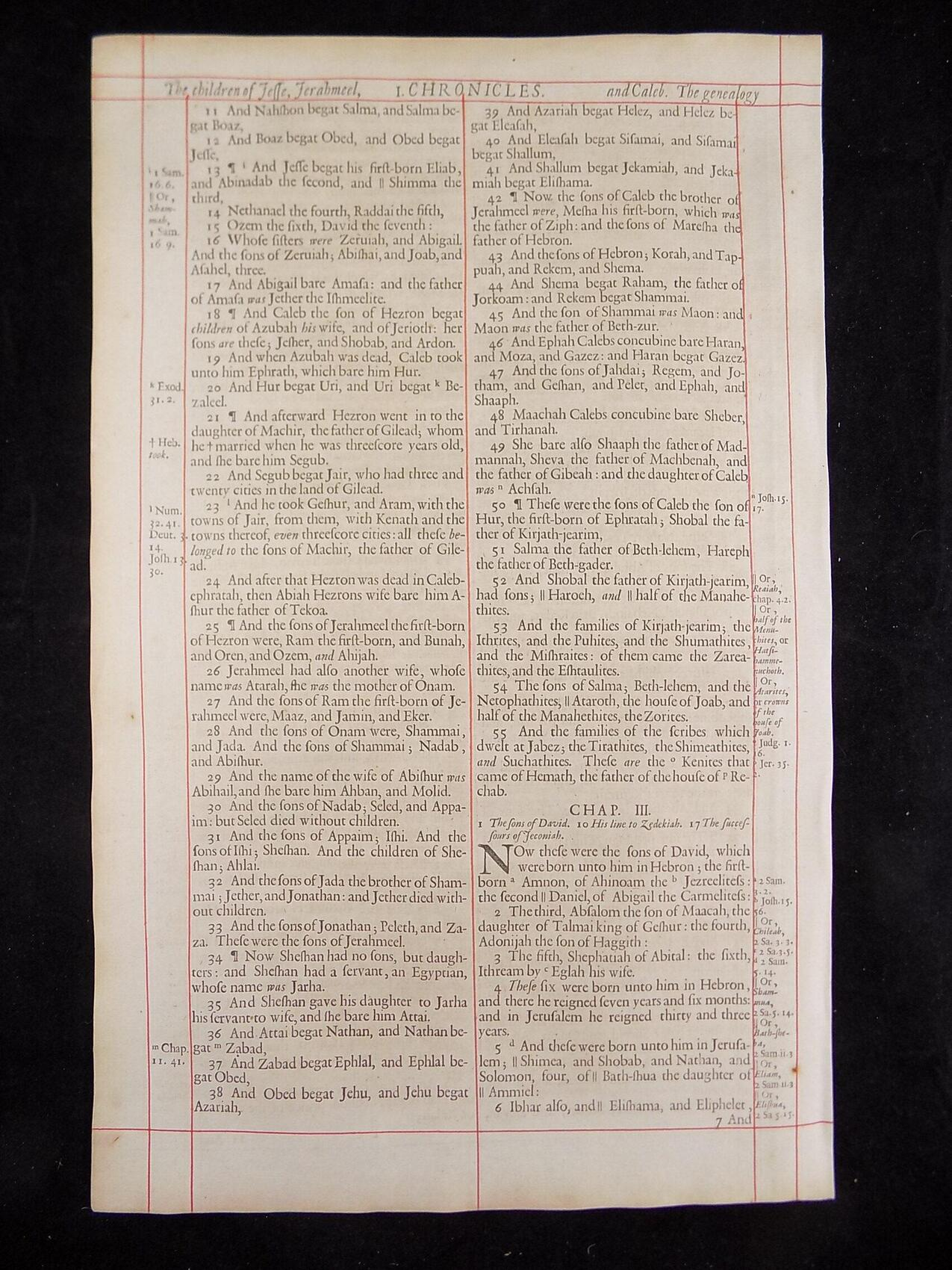 1680 OXFORD KJV FIRST CHRONICLES LEAVES