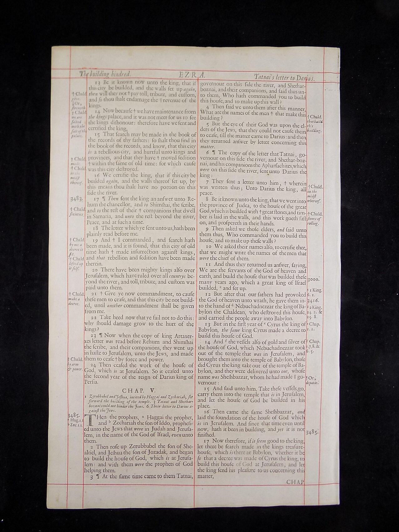 1680 OXFORD KJV EZRA LEAVES