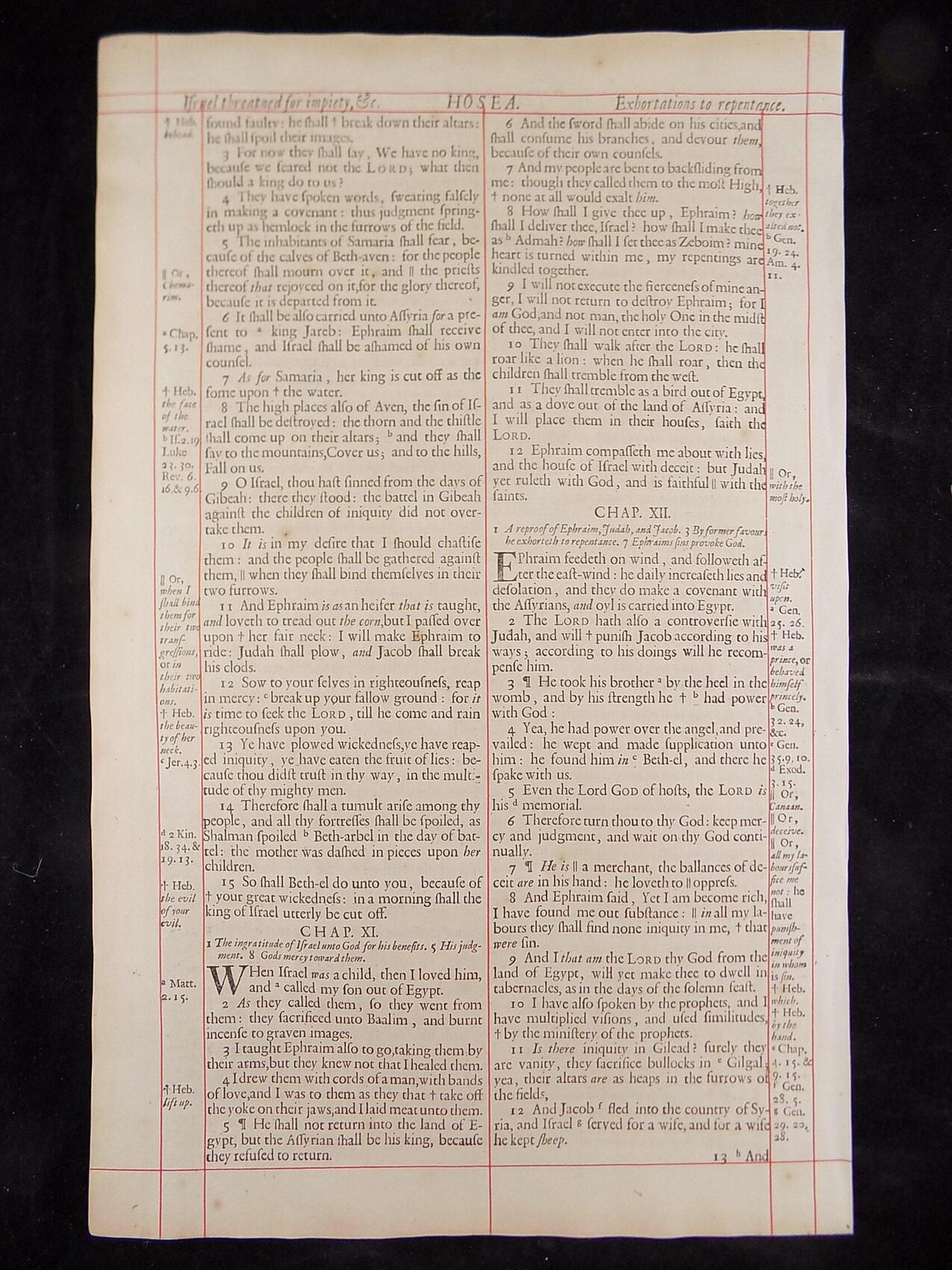 1680 OXFORD KJV HOSEA LEAVES