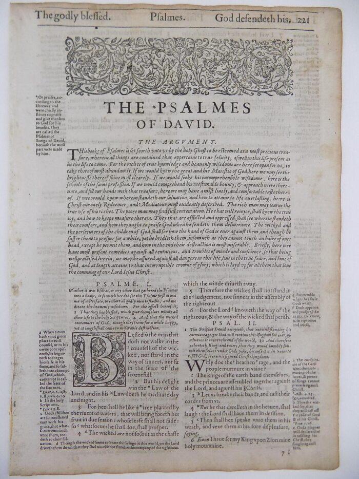 1612 GENEVA BIBLE PSALMS LEAF