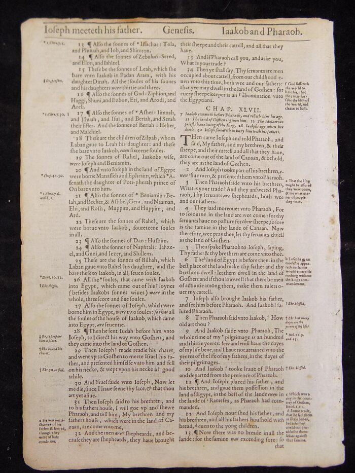 1612 GENEVA BIBLE GENESIS LEAVES
