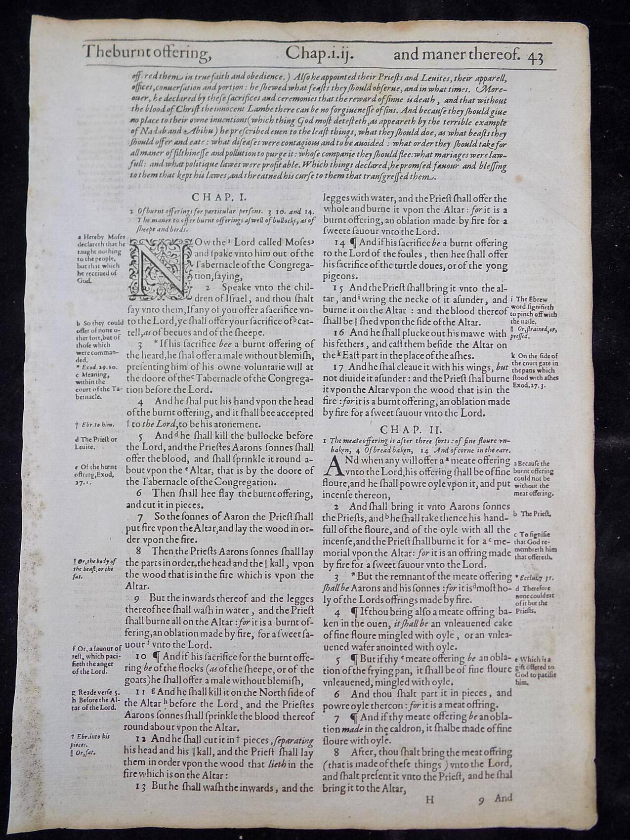 1612 LEVITICUS BIBLE GENESIS LEAVES