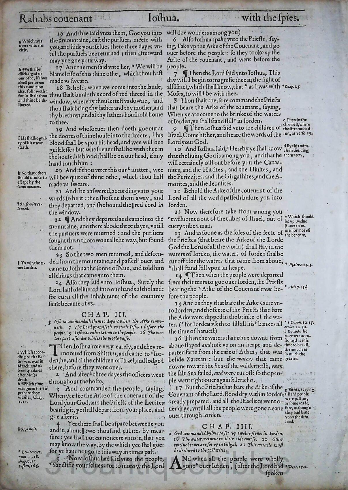 1612 GENEVA BIBLE JOSHUA LEAVES
