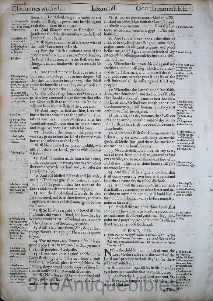 1612 GENEVA BIBLE FIRST SAMUEL LEAVES