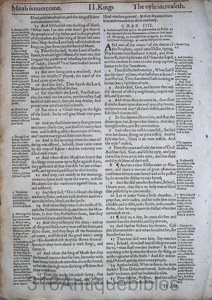 1612 GENEVA BIBLE SECOND KINGS LEAVES