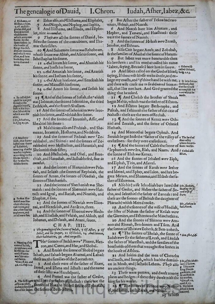 1612 GENEVA BIBLE FIRST CHRONICLES LEAVES