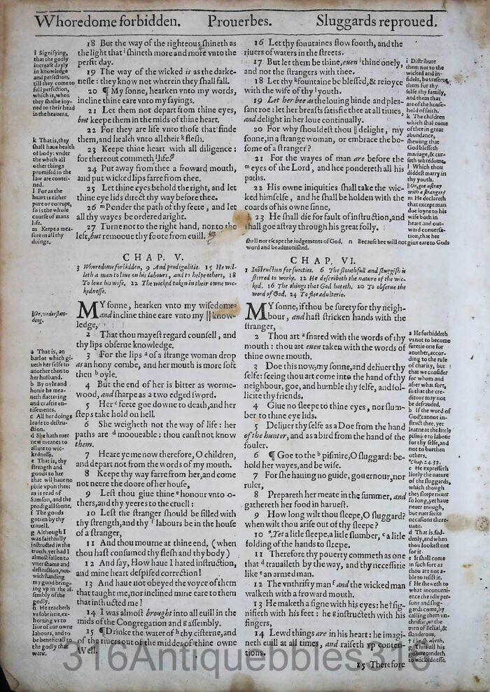 1612 GENEVA BIBLE PROVERBS LEAVES