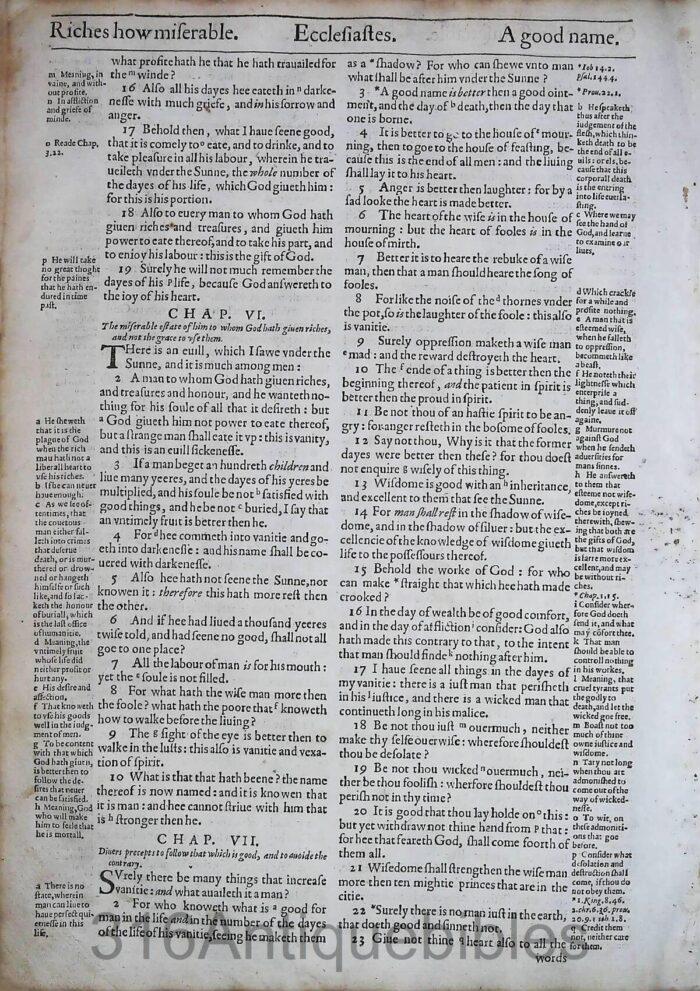 1612 GENEVA BIBLE ECCLESIASTES LEAVES