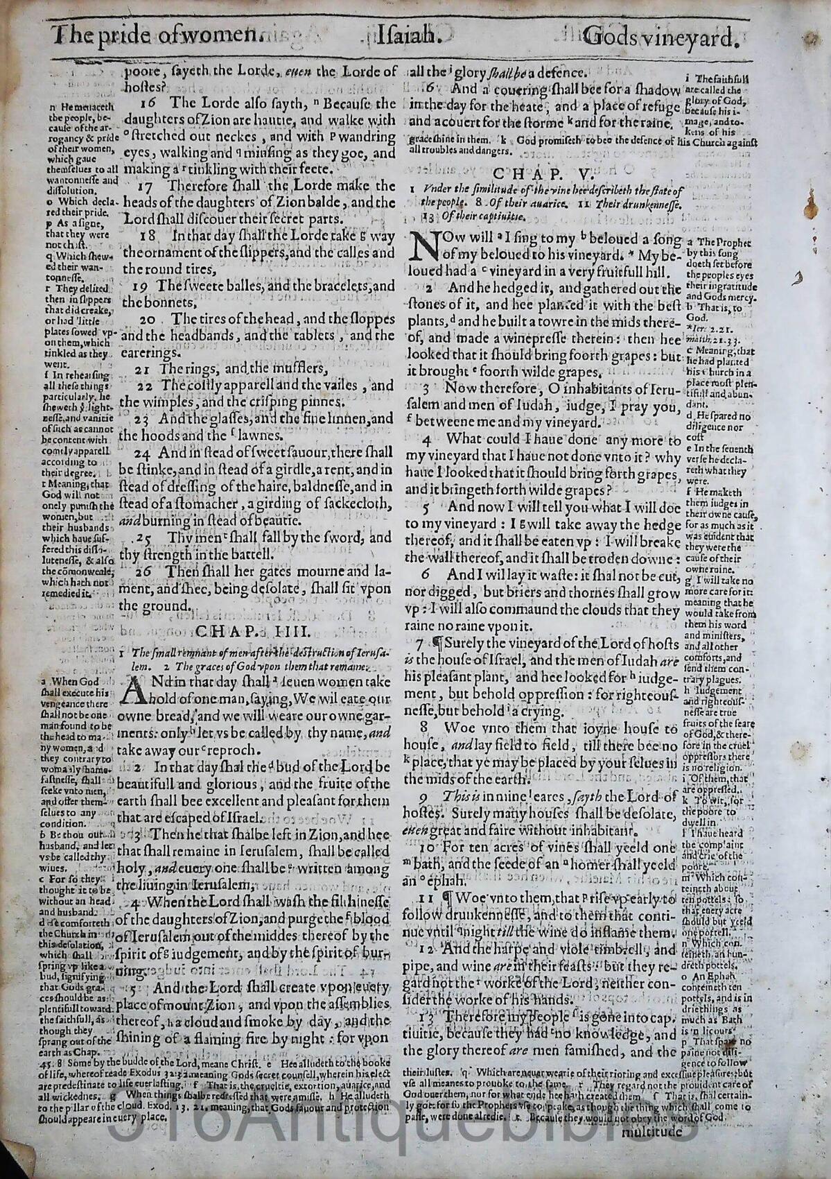 1612 GENEVA BIBLE ISAIAH LEAVES