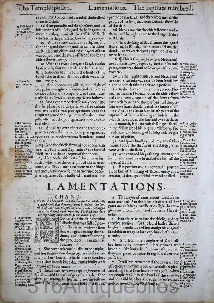 1612 GENEVA BIBLE LAMENTATIONS LEAVE