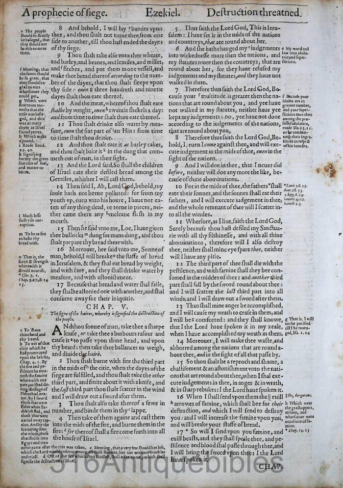1612 GENEVA BIBLE EZEKIEL LEAVES