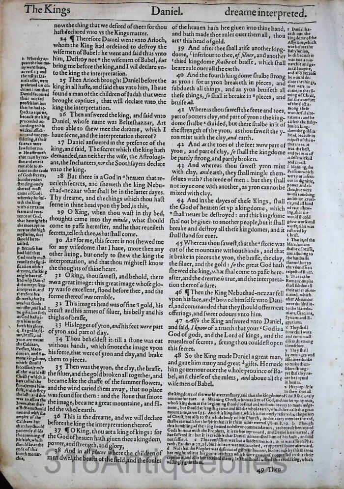 1612 GENEVA BIBLE DANIEL LEAVES