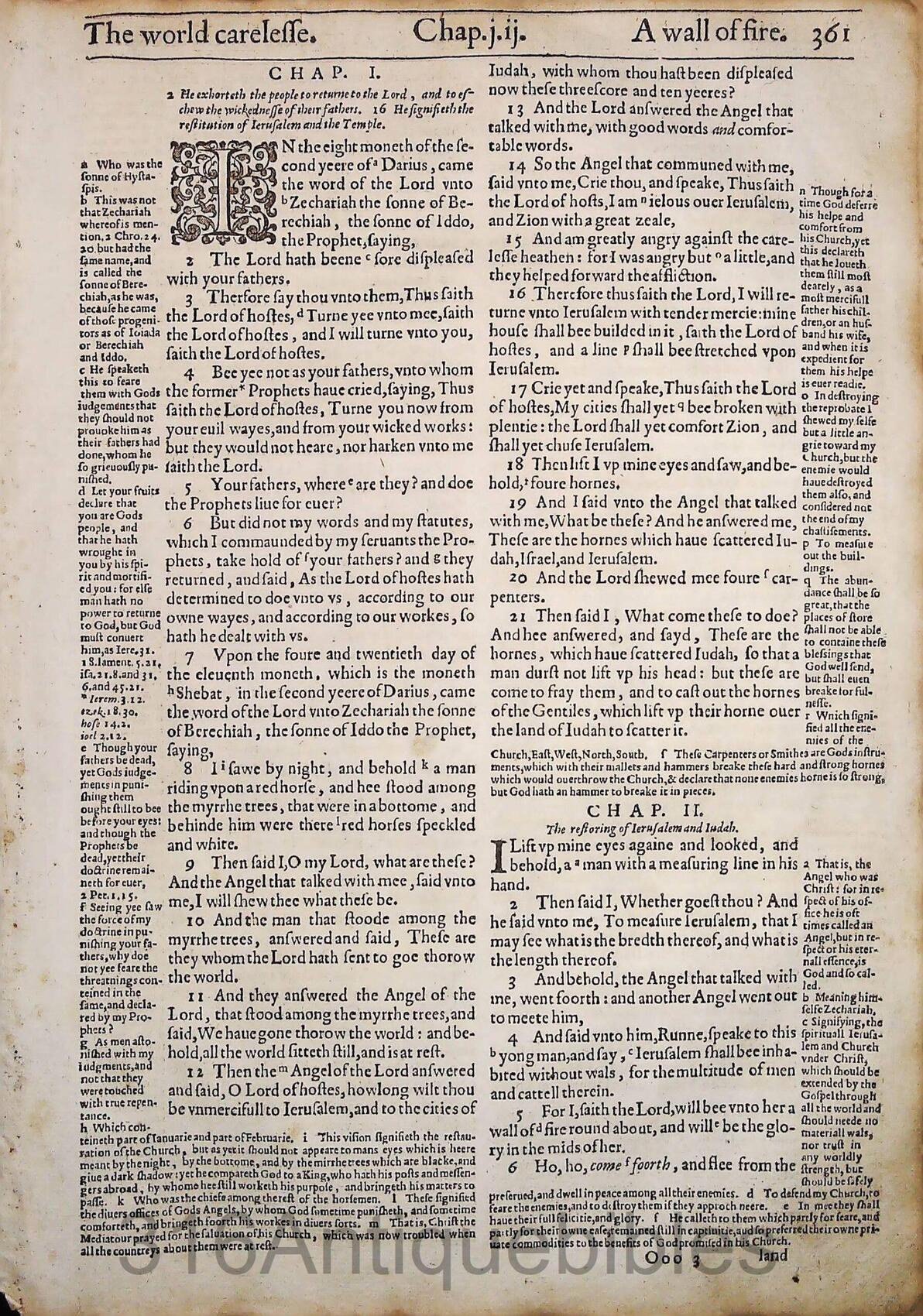 1612 GENEVA BIBLE ZECHARIAH LEAVES